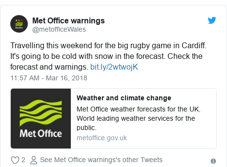 Twitter post by @metofficeWales: Travelling this weekend for the big rugby game in Cardiff. It's going to be cold with snow in the forecast. Check the forecast and warnings.