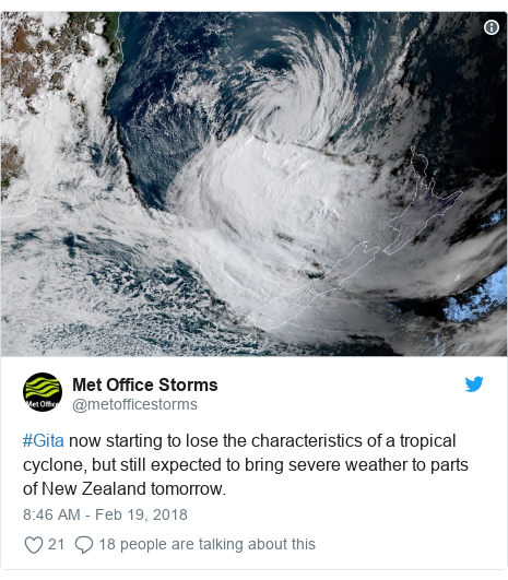 Twitter post by @metofficestorms: #Gita now starting to lose the characteristics of a tropical cyclone, but still expected to bring severe weather to parts of New Zealand tomorrow.