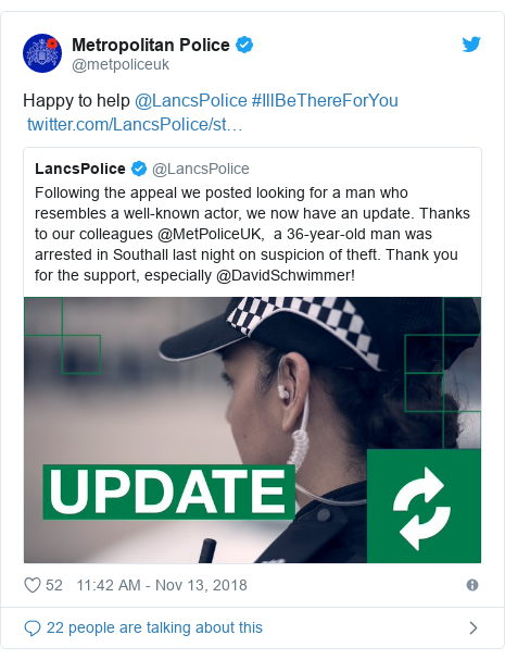 Twitter post by @metpoliceuk: Happy to help @LancsPolice #IllBeThereForYou