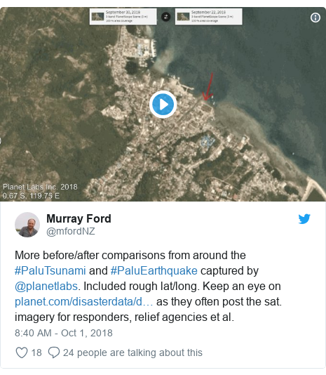 Twitter post by @mfordNZ: More before/after comparisons from around the #PaluTsunami and #PaluEarthquake captured by @planetlabs. Included rough lat/long. Keep an eye on  as they often post the sat. imagery for responders, relief agencies et al.