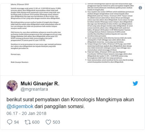 Twitter pesan oleh @mgreantara: berikut surat pernyataan dan Kronologis Mangkirnya akun @digembok dari panggilan somasi.