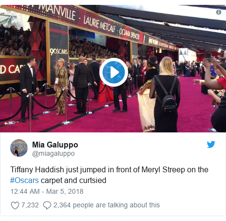 Twitter post by @miagaluppo: Tiffany Haddish just jumped in front of Meryl Streep on the #Oscars carpet and curtsied