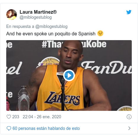Publicación de Twitter por @miblogestublog: And he even spoke un poquito de Spanish 😔