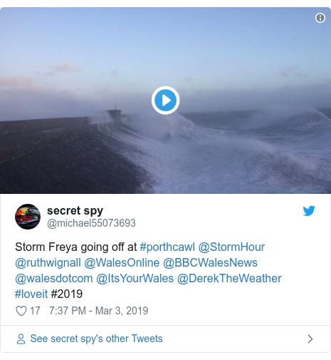 Twitter post by @michael55073693: Storm Freya going off at #porthcawl @StormHour @ruthwignall @WalesOnline @BBCWalesNews @walesdotcom @ItsYourWales @DerekTheWeather #loveit #2019
