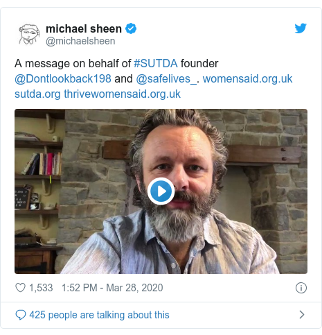 Twitter post by @michaelsheen: A message on behalf of #SUTDA founder @Dontlookback198 and @safelives_.