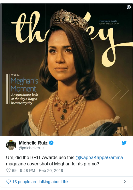Twitter post by @michelleruiz: Um, did the BRIT Awards use this @KappaKappaGamma magazine cover shot of Meghan for its promo?