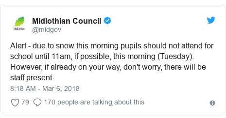 Twitter post by @midgov: Alert - due to snow this morning pupils should not attend for school until 11am, if possible, this morning (Tuesday). However, if already on your way, don't worry, there will be staff present.