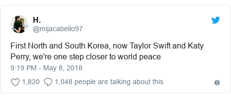 Twitter post by @mijacabello97: First North and South Korea, now Taylor Swift and Katy Perry, we're one step closer to world peace