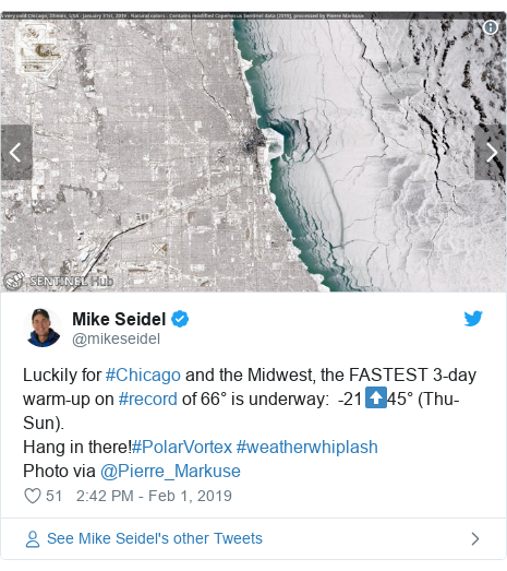 Twitter post by @mikeseidel: Luckily for #Chicago and the Midwest, the FASTEST 3-day warm-up on #record of 66° is underway   -21⬆️45° (Thu-Sun).Hang in there!#PolarVortex #weatherwhiplash Photo via @Pierre_Markuse