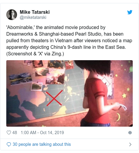 Twitter post by @miketatarski: 'Abominable,' the animated movie produced by Dreamworks & Shanghai-based Pearl Studio, has been pulled from theaters in Vietnam after viewers noticed a map apparently depicting China's 9-dash line in the East Sea. (Screenshot & 'X' via Zing.)