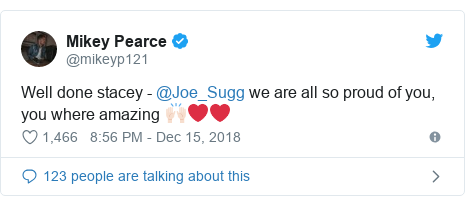 Twitter post by @mikeyp121: Well done stacey - @Joe_Sugg we are all so proud of you, you where amazing 🙌🏻❤️❤️