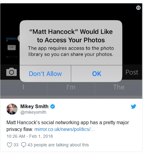Twitter post by @mikeysmith: Matt Hancock's social networking app has a pretty major privacy flaw.