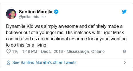 Twitter post by @milanmiracle: Dynamite Kid was simply awesome and definitely made a believer out of a younger me, His matches with Tiger Mask can be used as an educational resource for anyone wanting to do this for a living