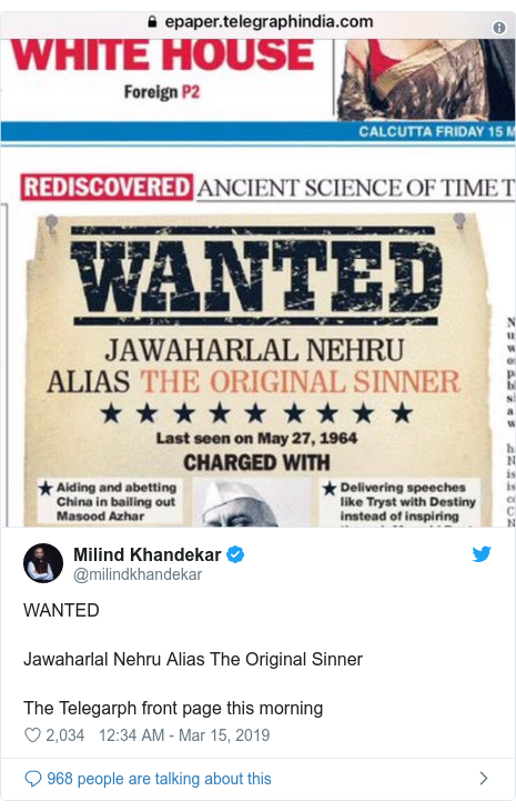 Twitter post by @milindkhandekar: WANTED Jawaharlal Nehru Alias The Original Sinner The Telegarph front page this morning