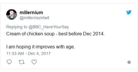 Twitter post by @millerniumtwit: Cream of chicken soup - best before Dec 2014.I am hoping it improves with age.