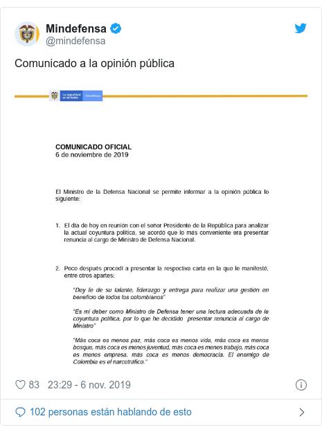 Publicación de Twitter por @mindefensa: Comunicado a la opinión pública
