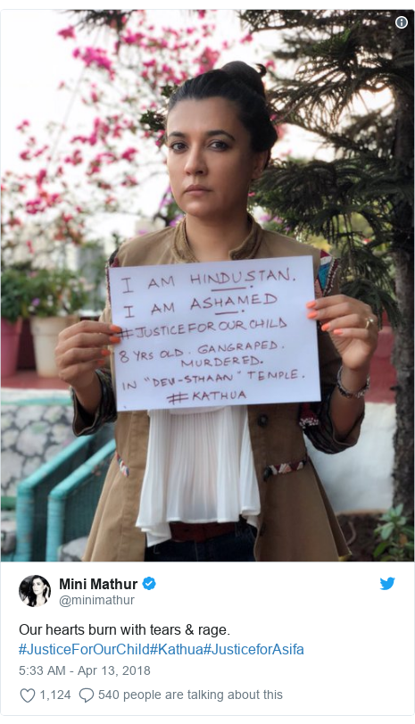 Twitter post by @minimathur: Our hearts burn with tears & rage. #JusticeForOurChild#Kathua#JusticeforAsifa