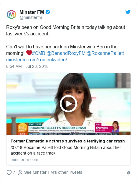 Twitter post by @minsterfm: Roxy's been on Good Morning Britain today talking about last week's accident.Can't wait to have her back on Minster with Ben in the morning! ❤️#GMB @BenandRoxyFM @RoxannePallett