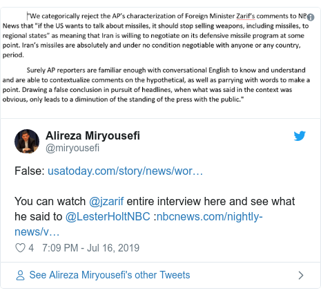 Twitter post by @miryousefi: False  You can watch @jzarif entire interview here and see what he said to @LesterHoltNBC