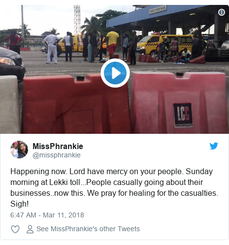 Twitter post by @missphrankie: Happening now. Lord have mercy on your people. Sunday morning at Lekki toll...People casually going about their businesses..now this. We pray for healing for the casualties. Sigh!