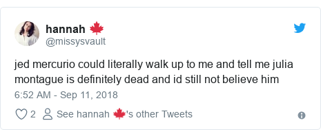 Twitter post by @missysvault: jed mercurio could literally walk up to me and tell me julia montague is definitely dead and id still not believe him