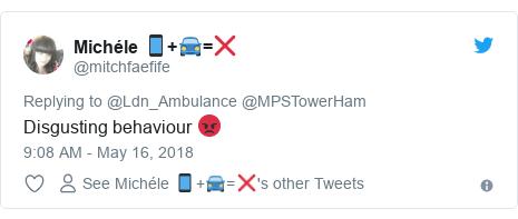 Twitter post by @mitchfaefife: Disgusting behaviour 😡