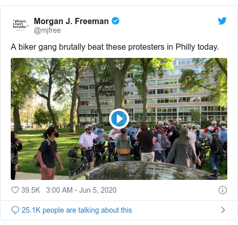 Twitter post by @mjfree: A biker gang brutally beat these protesters in Philly today.