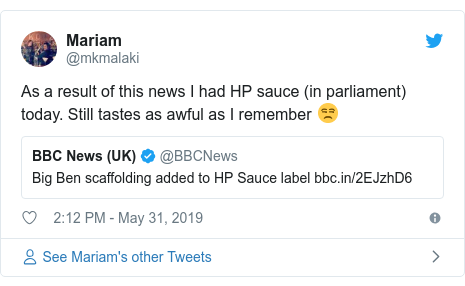 Twitter post by @mkmalaki: As a result of this news I had HP sauce (in parliament) today. Still tastes as awful as I remember 😒