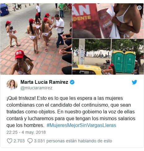 Publicación de Twitter por @mluciaramirez: ¡Qué tristeza! Esto es lo que les espera a las mujeres colombianas con el candidato del continuismo, que sean tratadas como objetos. En nuestro gobierno la voz de ellas contará y lucharemos para que tengan los mismos salarios que los hombres.  #MujeresMejorSinVargasLleras