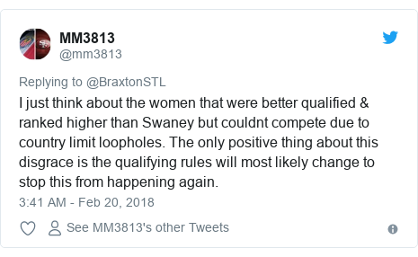 Twitter post by @mm3813: I just think about the women that were better qualified & ranked higher than Swaney but couldnt compete due to country limit loopholes. The only positive thing about this disgrace is the qualifying rules will most likely change to stop this from happening again.