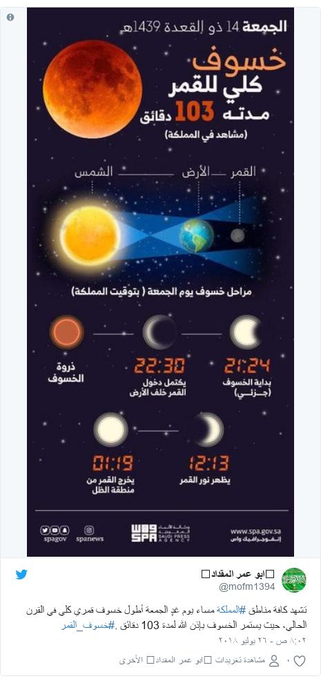 تويتر رسالة بعث بها @mofm1394: تشهد كافة مناطق #المملكة مساء يوم غدٍ الجمعة أطول خسوف قمري كلي في القرن الحالي، حيث يستمر الخسوف بإذن الله لمدة 103 دقائق .#خسوف_القمر