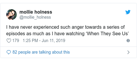 Twitter post by @mollie_holness: I have never experienced such anger towards a series of episodes as much as I have watching 'When They See Us'