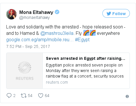 Twitter post by @monaeltahawy: Love and solidarity with the arrested - hope released soon - and to Hamed & @mashrou3leila. Fly 🌈🌈 everywhere https //t.co/fFwK2b2EZr #Egypt