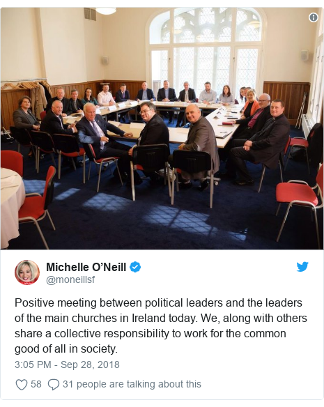 Twitter post by @moneillsf: Positive meeting between political leaders and the leaders of the main churches in Ireland today. We, along with others share a collective responsibility to work for the common good of all in society.