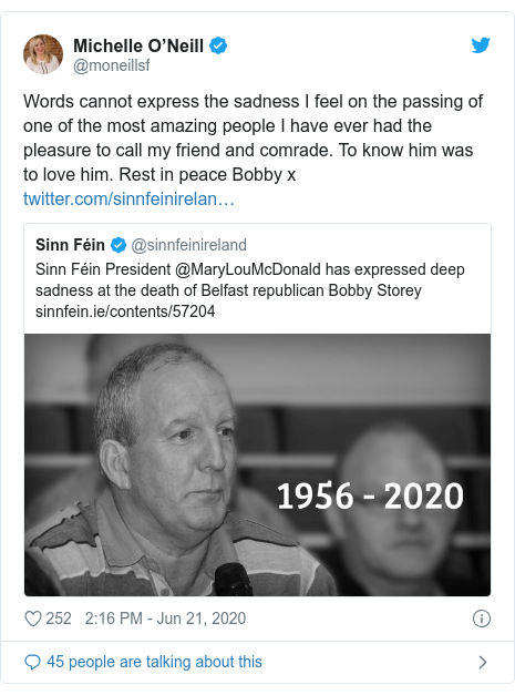 Twitter post by @moneillsf: Words cannot express the sadness I feel on the passing of one of the most amazing people I have ever had the pleasure to call my friend and comrade. To know him was to love him. Rest in peace Bobby x