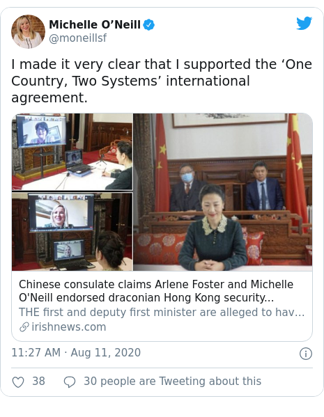 Twitter post by @moneillsf: I made it very clear that I supported the 'One Country, Two Systems' international agreement.