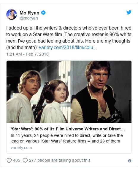 Twitter post by @moryan: I added up all the writers & directors who've ever been hired to work on a Star Wars film. The creative roster is 96% white men. I've got a bad feeling about this. Here are my thoughts (and the math)