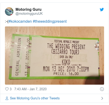 Twitter post by @motoringguruUK:  -(#kokocamden #theweddingpresent