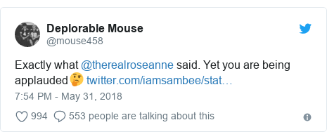 Twitter post by @mouse458: Exactly what @therealroseanne said. Yet you are being applauded🤔