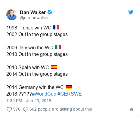 Twitter post by @mrdanwalker: 1998 France win WC 🇫🇷 2002 Out in the group stages2006 Italy win the WC 🇮🇹 2010 Out in the group stages 2010 Spain win WC 🇪🇸 2014 Out in the group stages2014 Germany win the WC 🇩🇪 2018 ?????#WorldCup #GERSWE