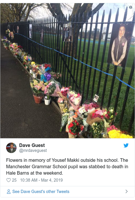 Twitter post by @mrdaveguest: Flowers in memory of Yousef Makki outside his school. The Manchester Grammar School pupil was stabbed to death in Hale Barns at the weekend.