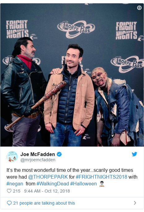 Twitter post by @mrjoemcfadden: It's the most wonderful time of the year...scarily good times were had @THORPEPARK for #FRIGHTNIGHTS2018 with #negan  from #WalkingDead #Halloween 🧟♂️
