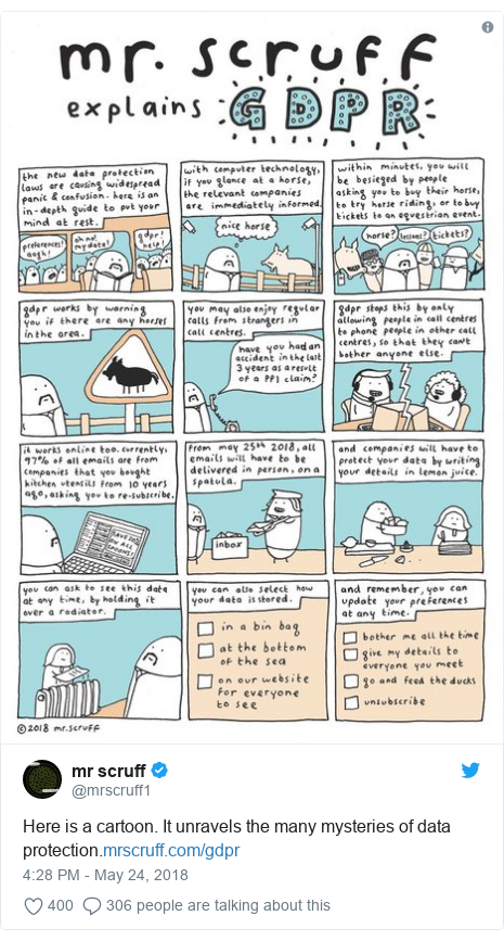 Twitter post by @mrscruff1: Here is a cartoon. It unravels the many mysteries of data protection.