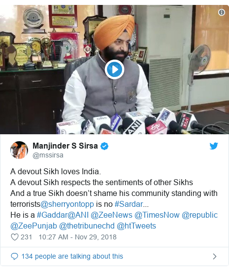 Twitter post by @mssirsa: A devout Sikh loves India. A devout Sikh respects the sentiments of other SikhsAnd a true Sikh doesn't shame his community standing with terrorists@sherryontopp is no #Sardar...He is a #Gaddar@ANI @ZeeNews @TimesNow @republic @ZeePunjab @thetribunechd @htTweets