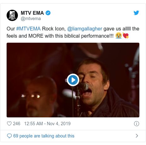 Twitter post by @mtvema: Our #MTVEMA Rock Icon, @liamgallagher gave us alllll the feels and MORE with this biblical performance!!! 😭💘