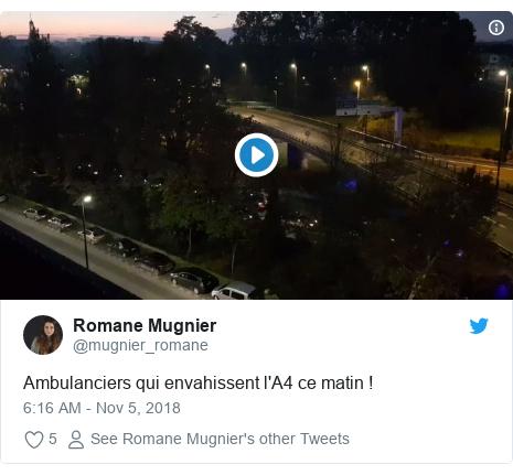 Twitter post by @mugnier_romane: Ambulanciers qui envahissent l'A4 ce matin !