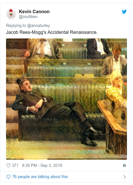 Twitter post by @multikev: Jacob Rees-Mogg's Accidental Renaissance.