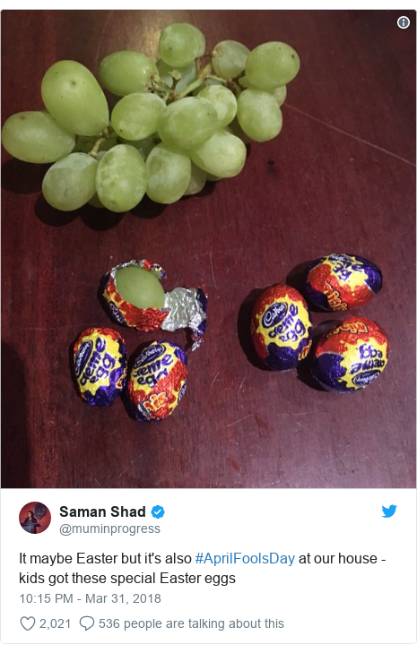 Twitter post by @muminprogress: It maybe Easter but it's also #AprilFoolsDay at our house - kids got these special Easter eggs