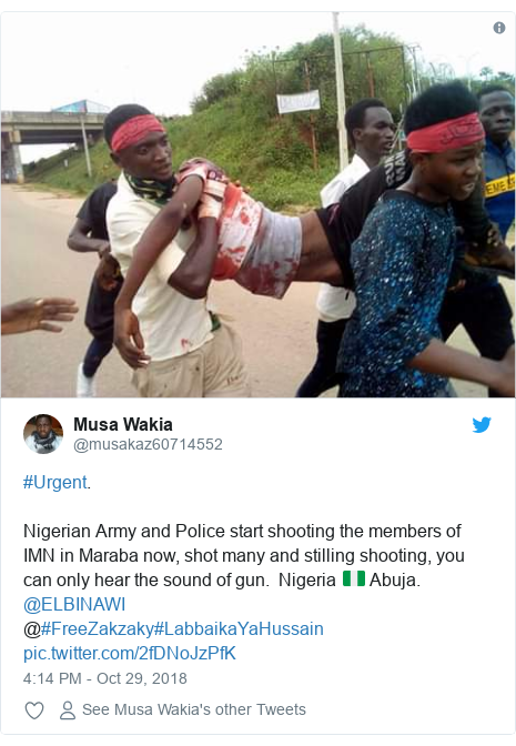 Twitter post by @musakaz60714552: #Urgent. Nigerian Army and Police start shooting the members of IMN in Maraba now, shot many and stilling shooting, you can only hear the sound of gun.  Nigeria 🇳🇬 Abuja. @ELBINAWI@#FreeZakzaky#LabbaikaYaHussain