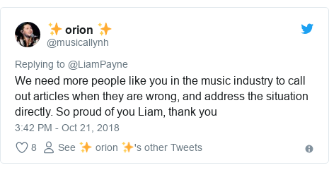 Twitter post by @musicallynh: We need more people like you in the music industry to call out articles when they are wrong, and address the situation directly. So proud of you Liam, thank you